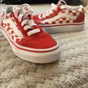 Red and white checkerboard vans